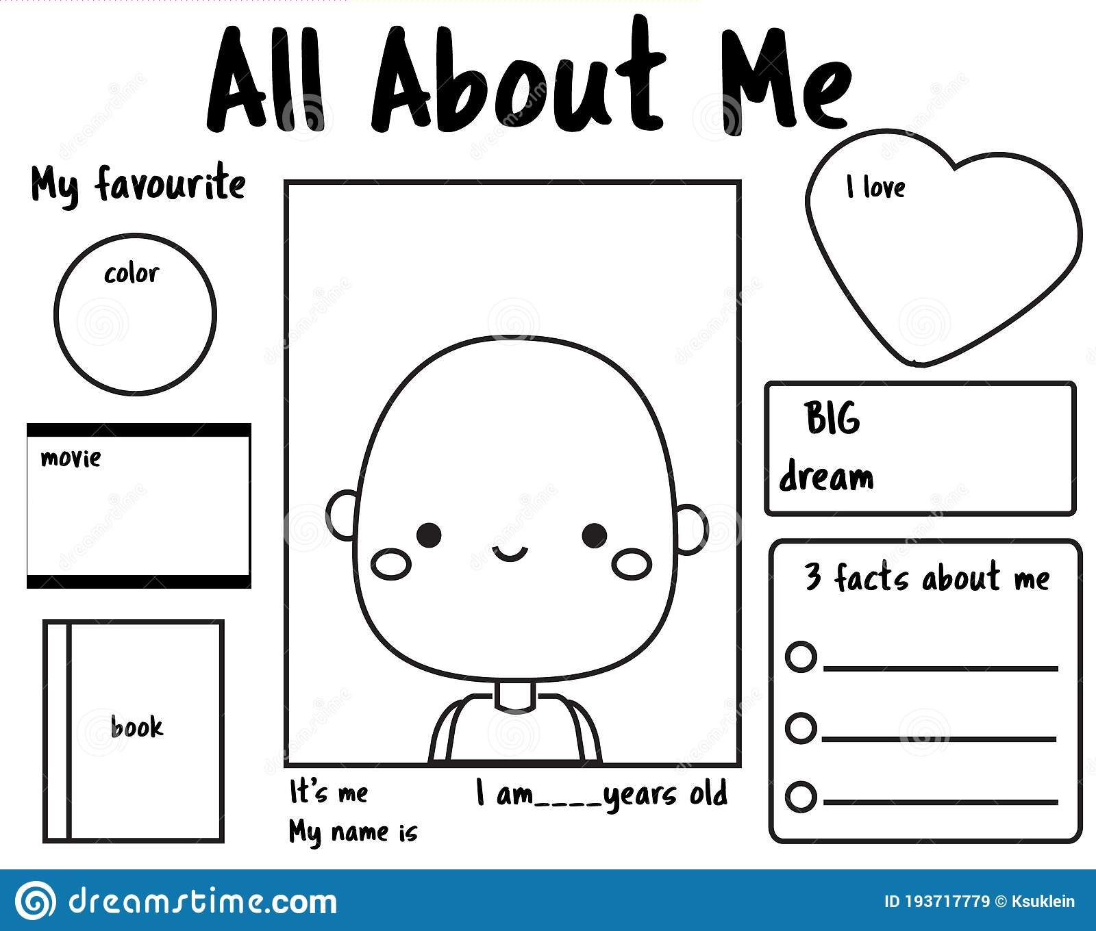 All About Me Printable Back To School Writing Prompt For