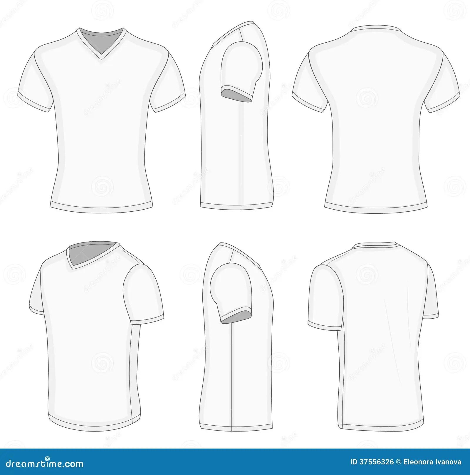 All Views Men S White Short Sleeve V Neck T Shirt Stock Vector