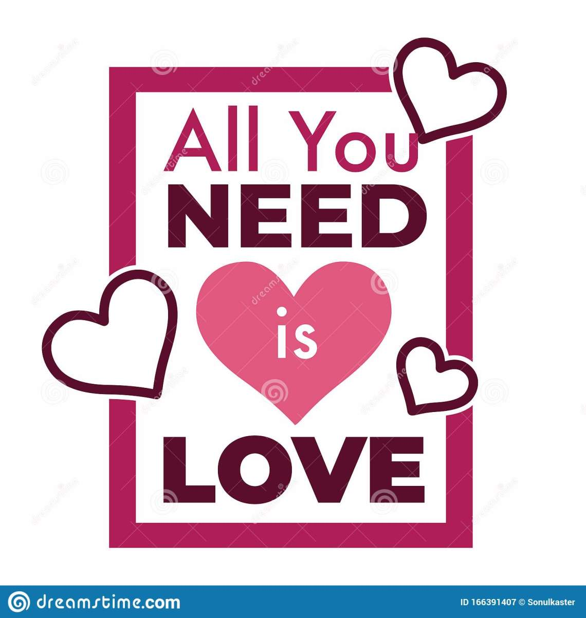 Download All You Need Is Love Song Phrase With Pink Hearts Stock ...