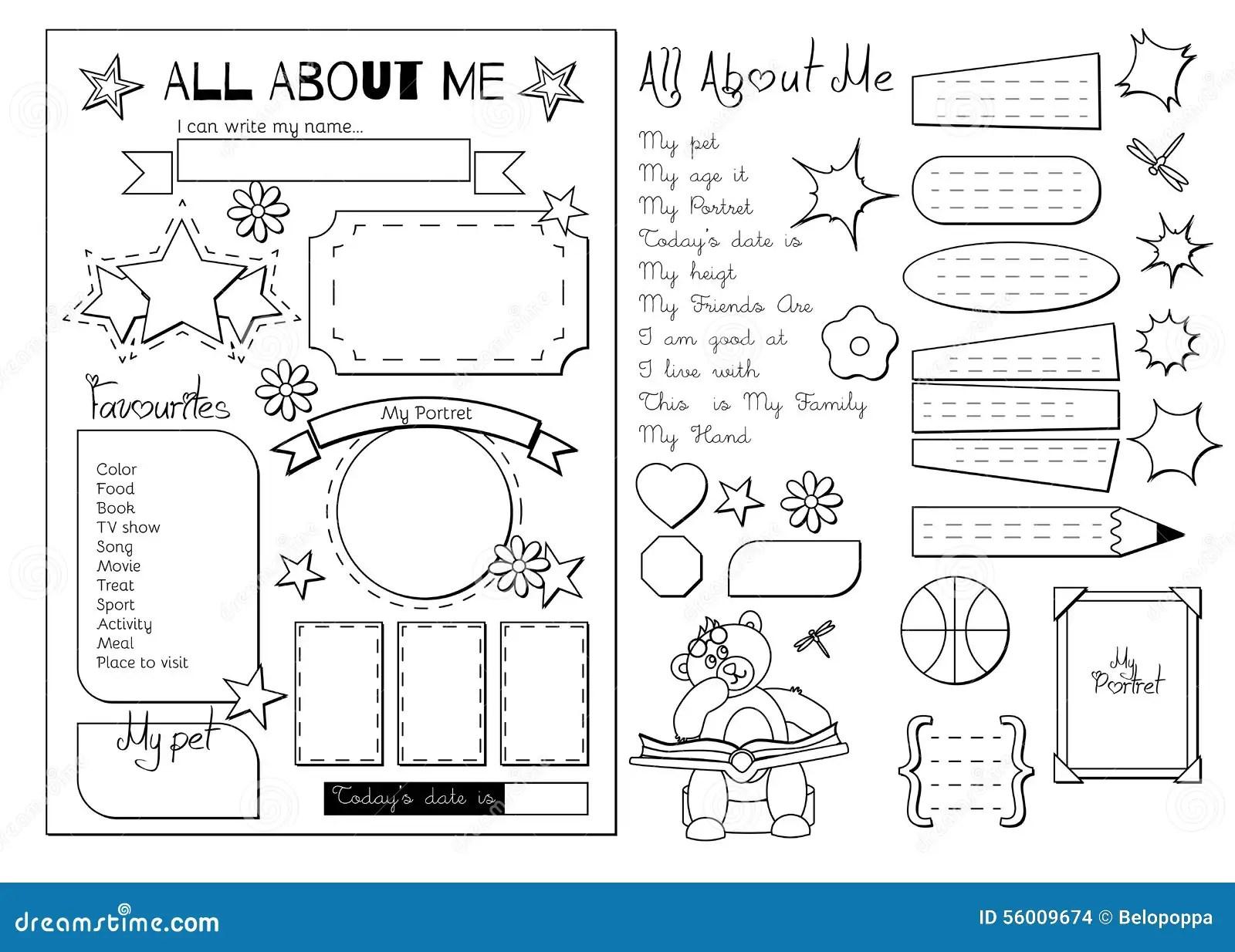 Alla Mig Tryckbar Skola Vektor Illustrationer