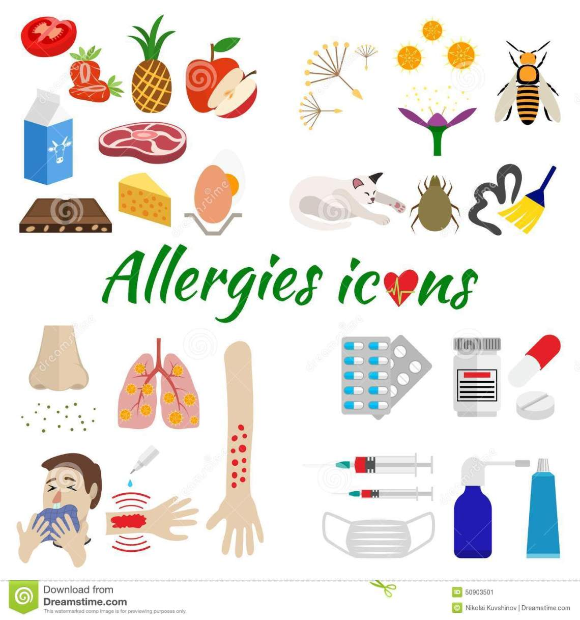 ... on allergens, symptoms and treatment. isolated on white background