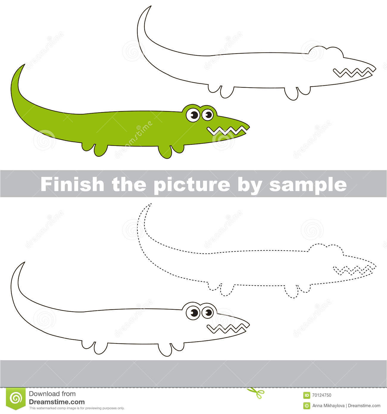 Alligator Drawing Worksheet Stock Vector