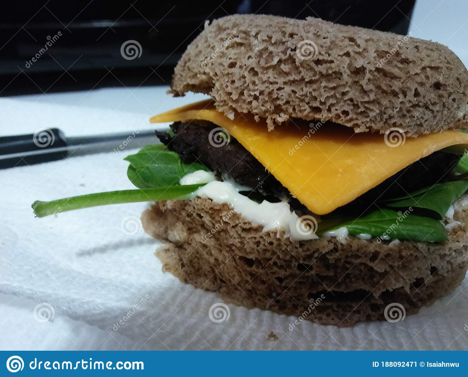almond flour keto bread cooked in microwave with beef burger cheddar cheese mayonnaise and spinach stock image image of keto flour 188092471