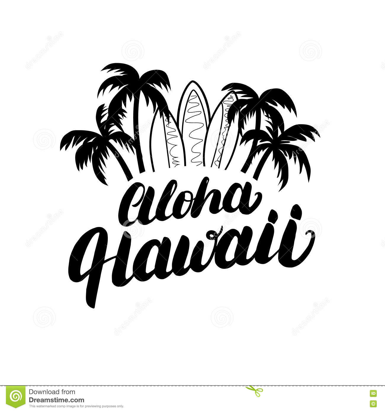 Aloha Hawaii Beach Poster Cartoon Vector