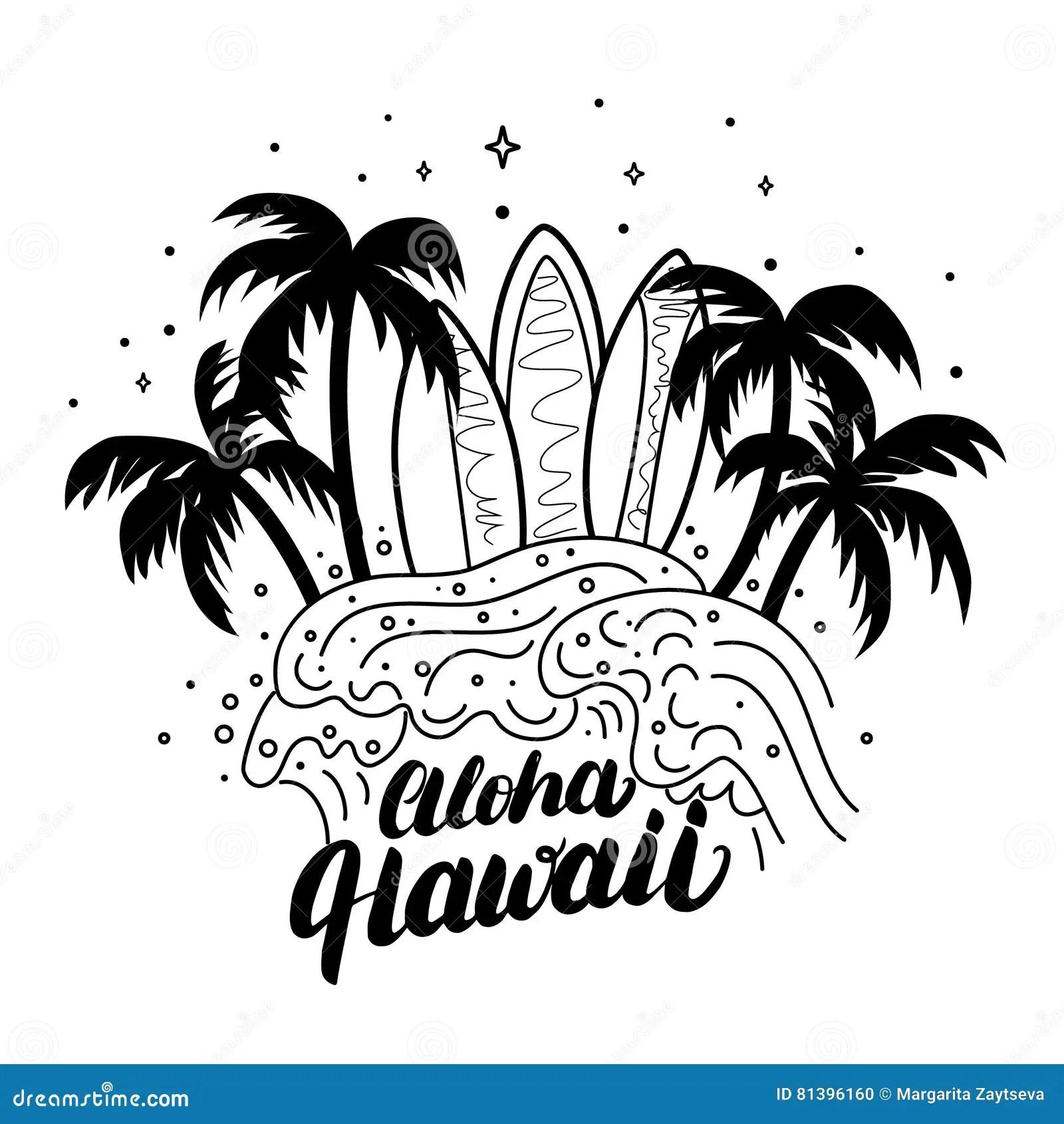 Aloha Hawaii Beach Poster Cartoon Vector