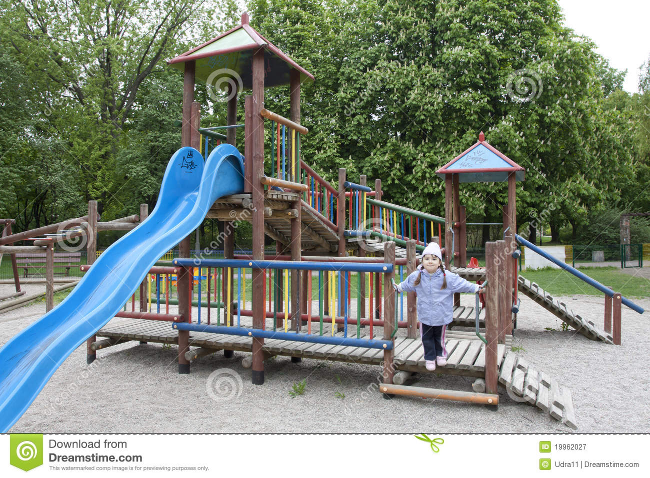 Alone Playground With One Child In The Park Stock Image