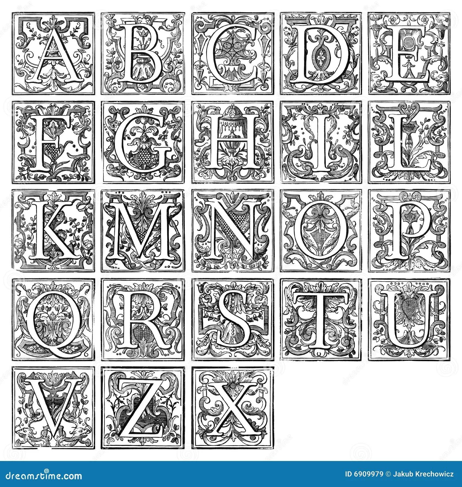 Alphabet From 16th Century Stock Illustration