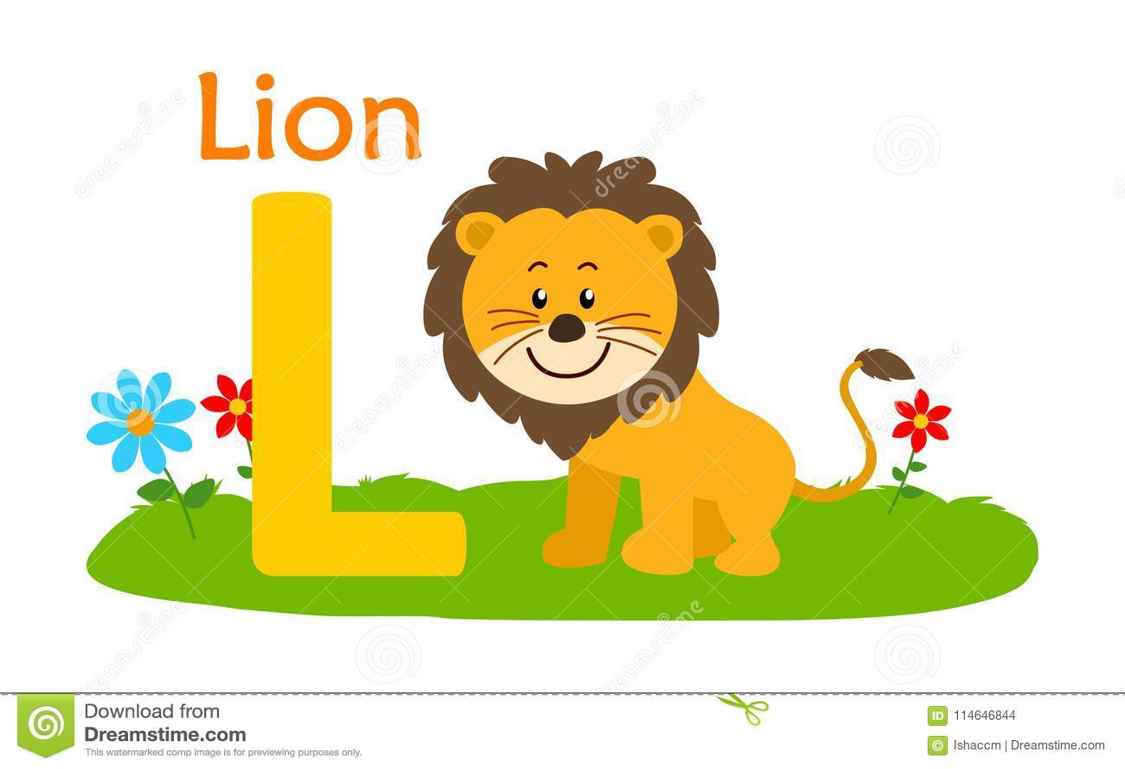 Alphabet Animal L Letter L Lion Vektor Illustrationer