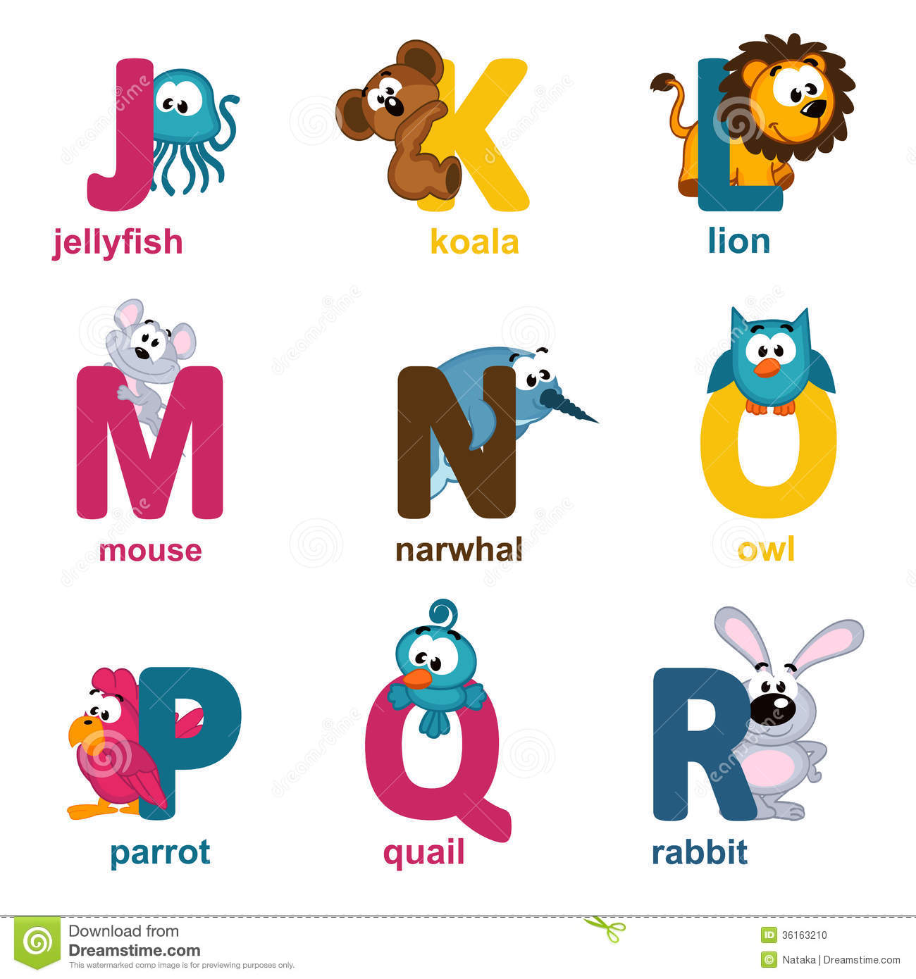 Alphabet Animals From J To R Stock Vector