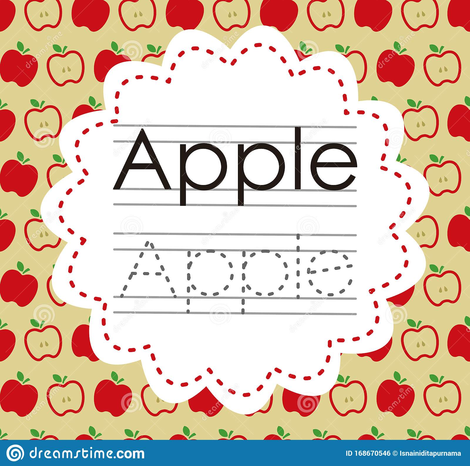 Alphabet A Is For Apple Worksheet For Kindergarten Vector