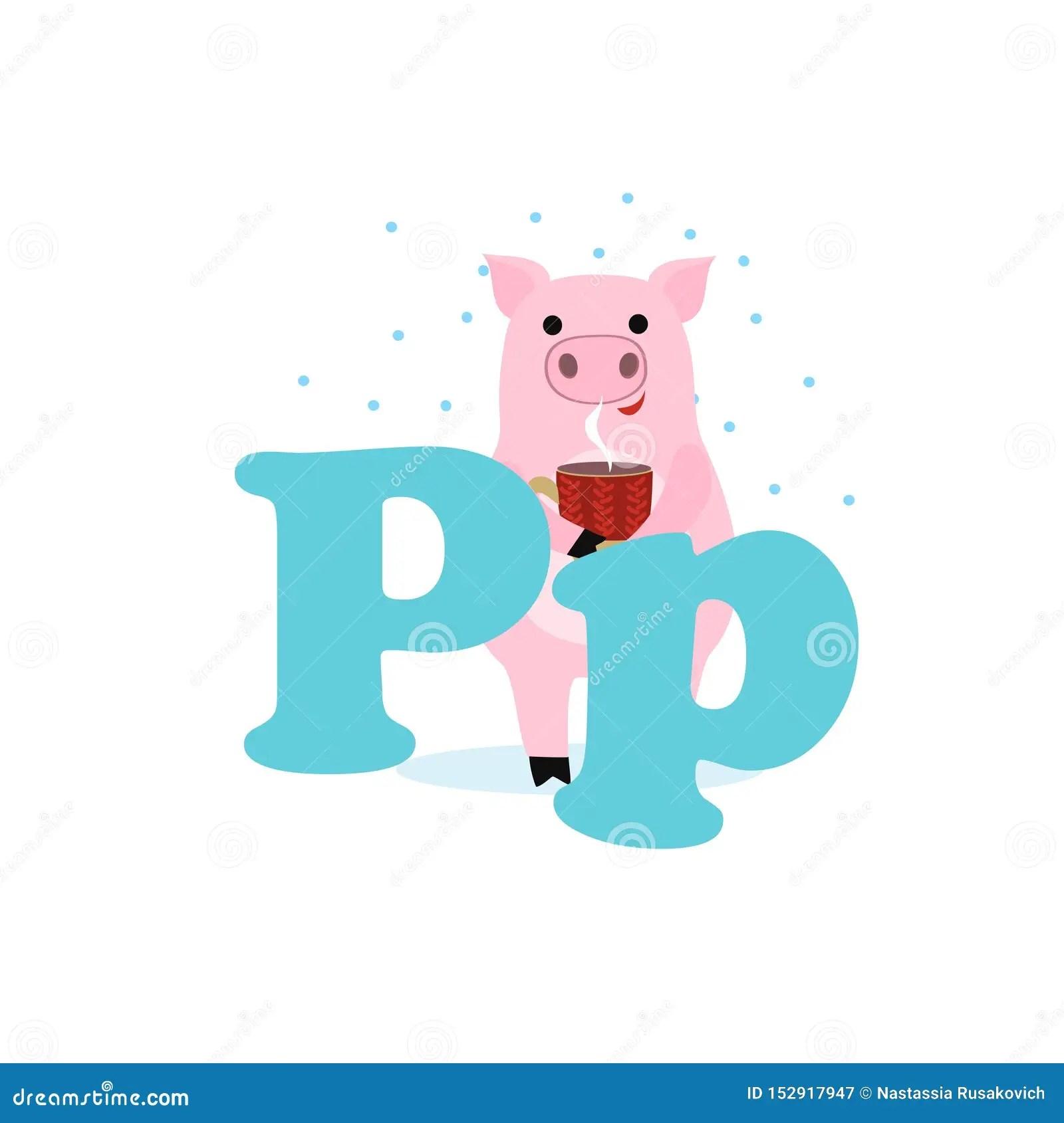 Alphabet For Children Letter P Pig Vector Illustration