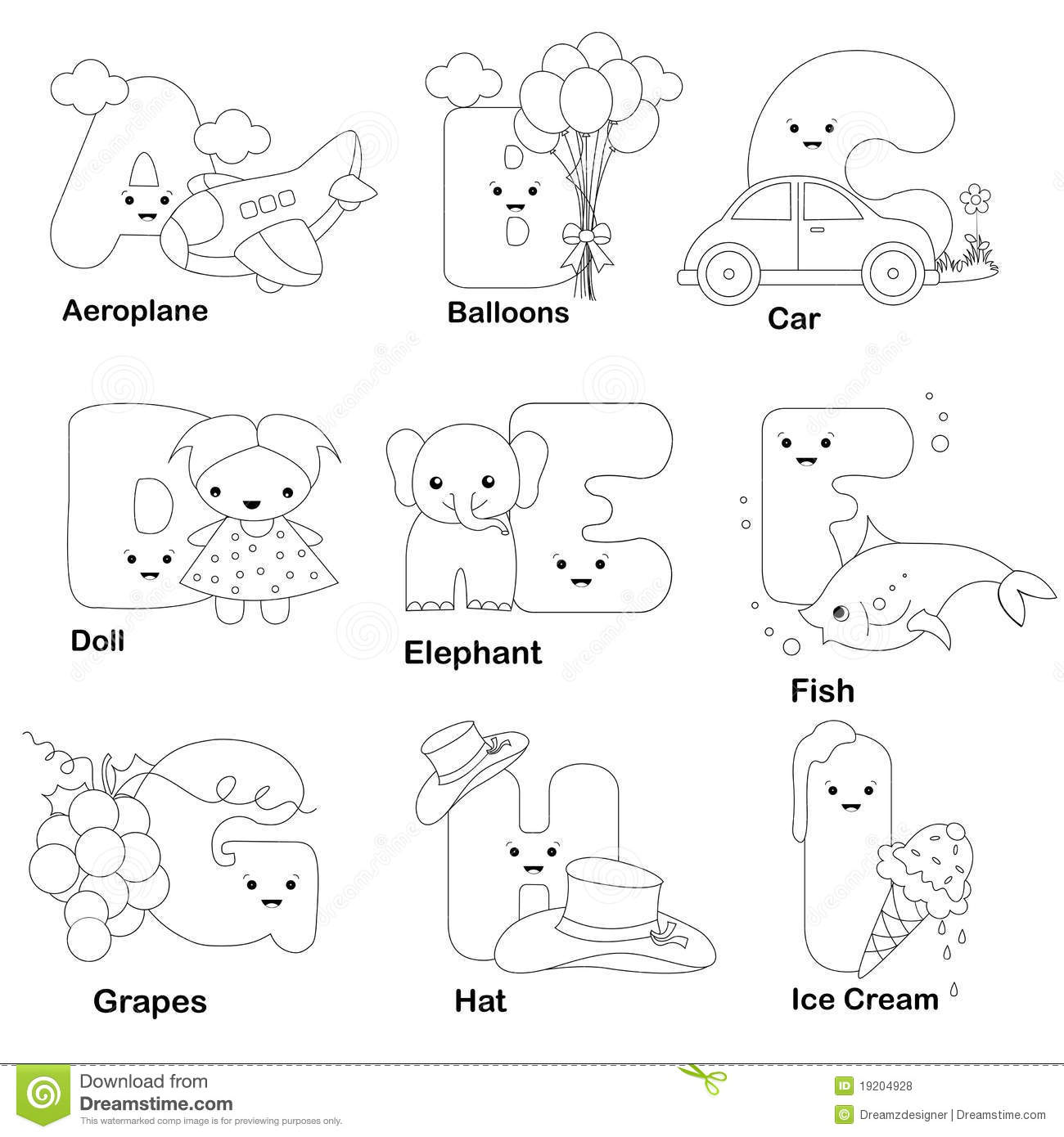 Alphabet Coloring Page Stock Vector Illustration Of Child