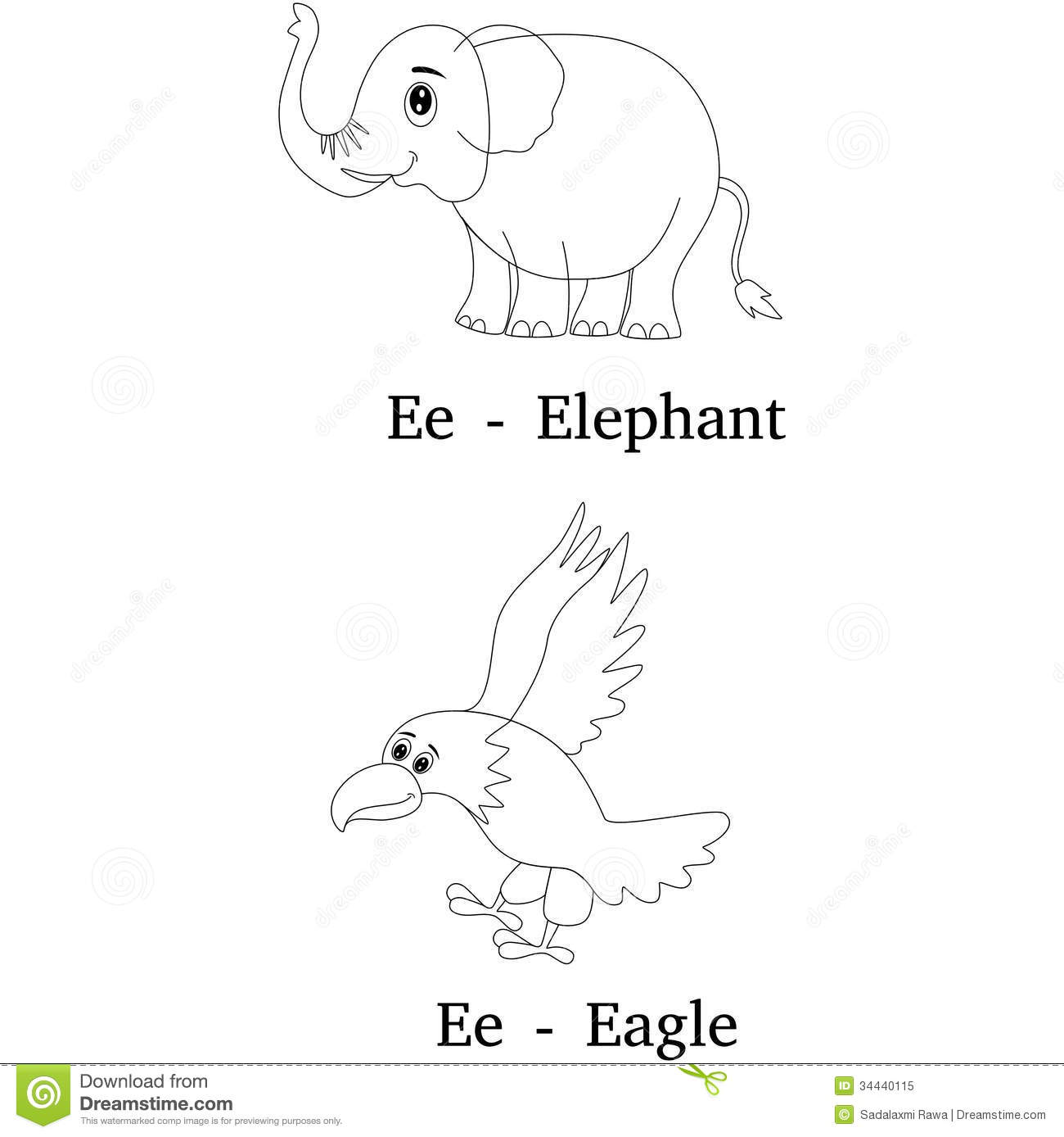 Alphabet E Coloring Page Royalty Free Stock Photo