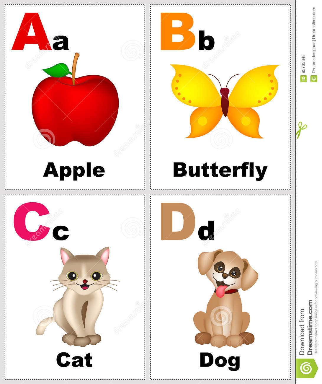 Alphabet Flashcards Stock Illustration Illustration Of