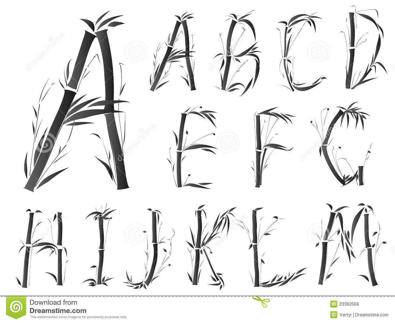 Alphabet Font In Asian Style Stock Vector Image 23362568
