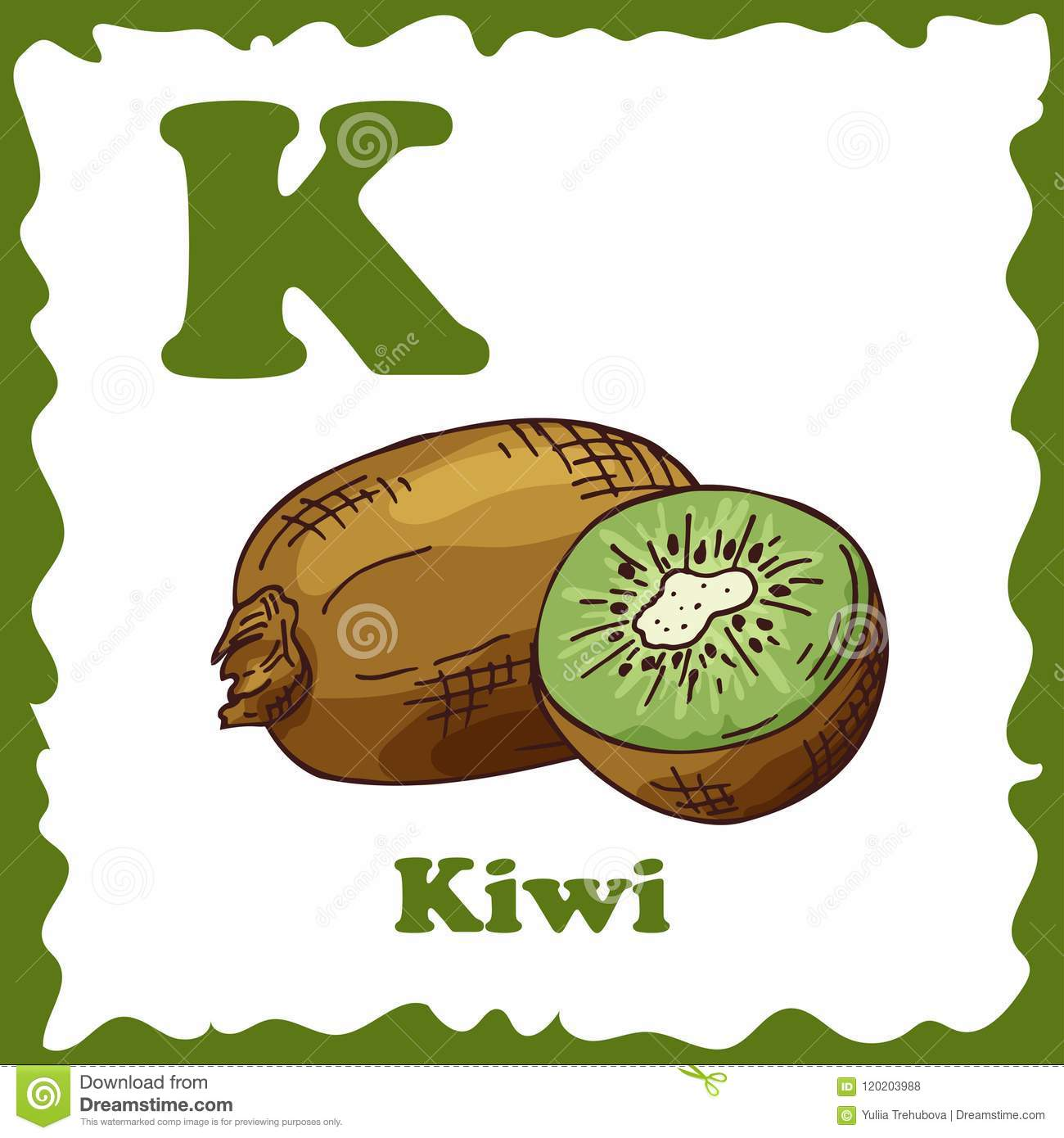 Alphabet For Kids With Fruits Healthy Letter Abc K Kiwi