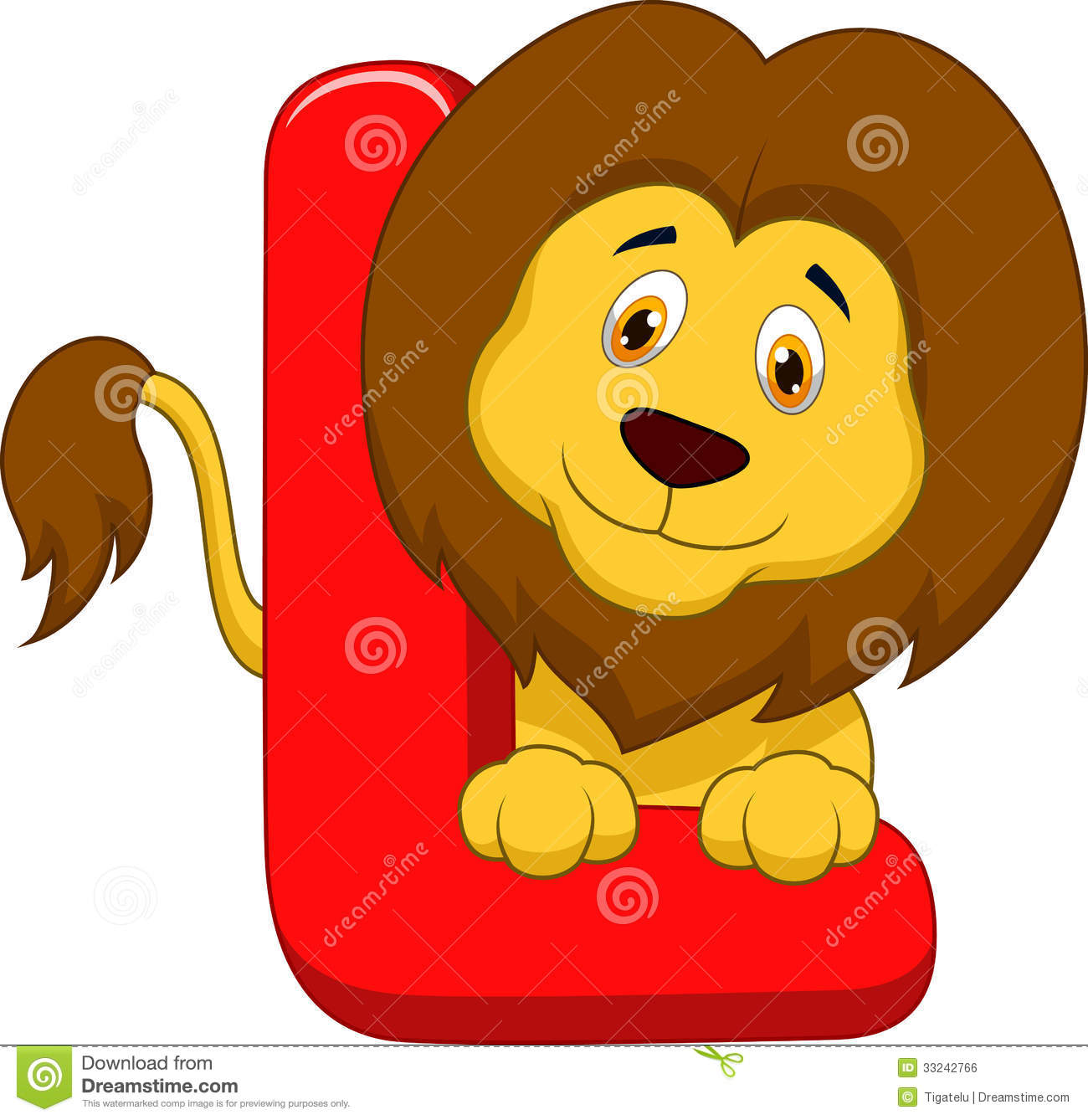 Alphabet L With Lion Cartoon Royalty Free Stock Image