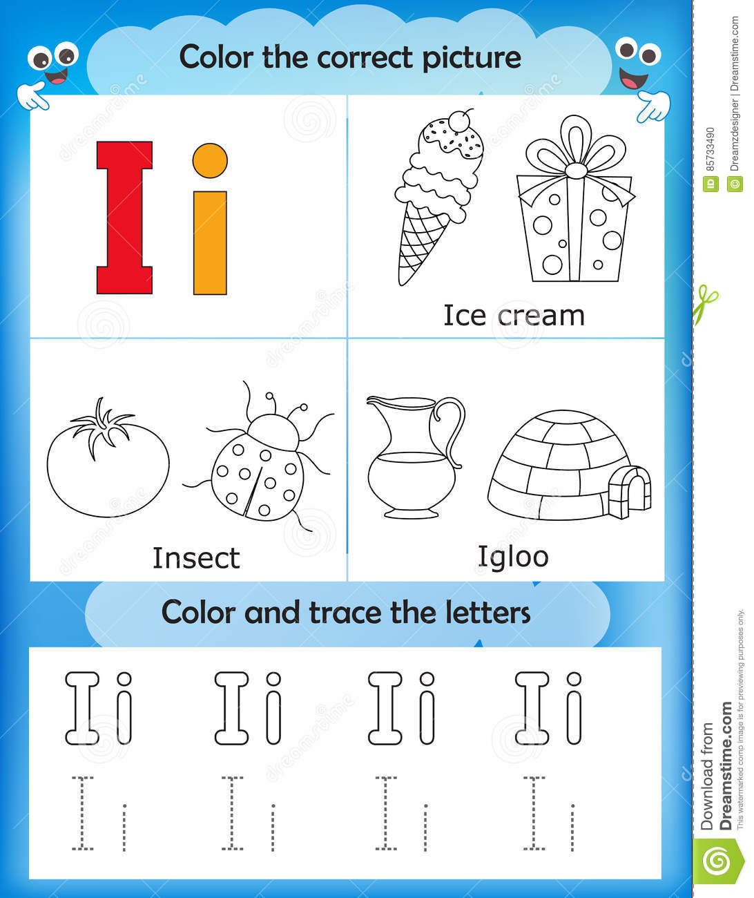 Alphabet Learning And Color Letter I Stock Illustration