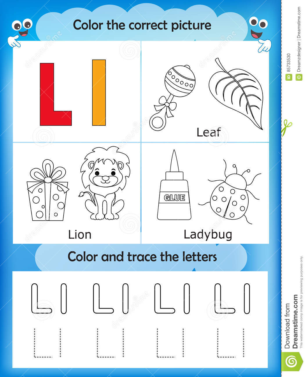 Alphabet Learning And Color Letter L Stock Illustration