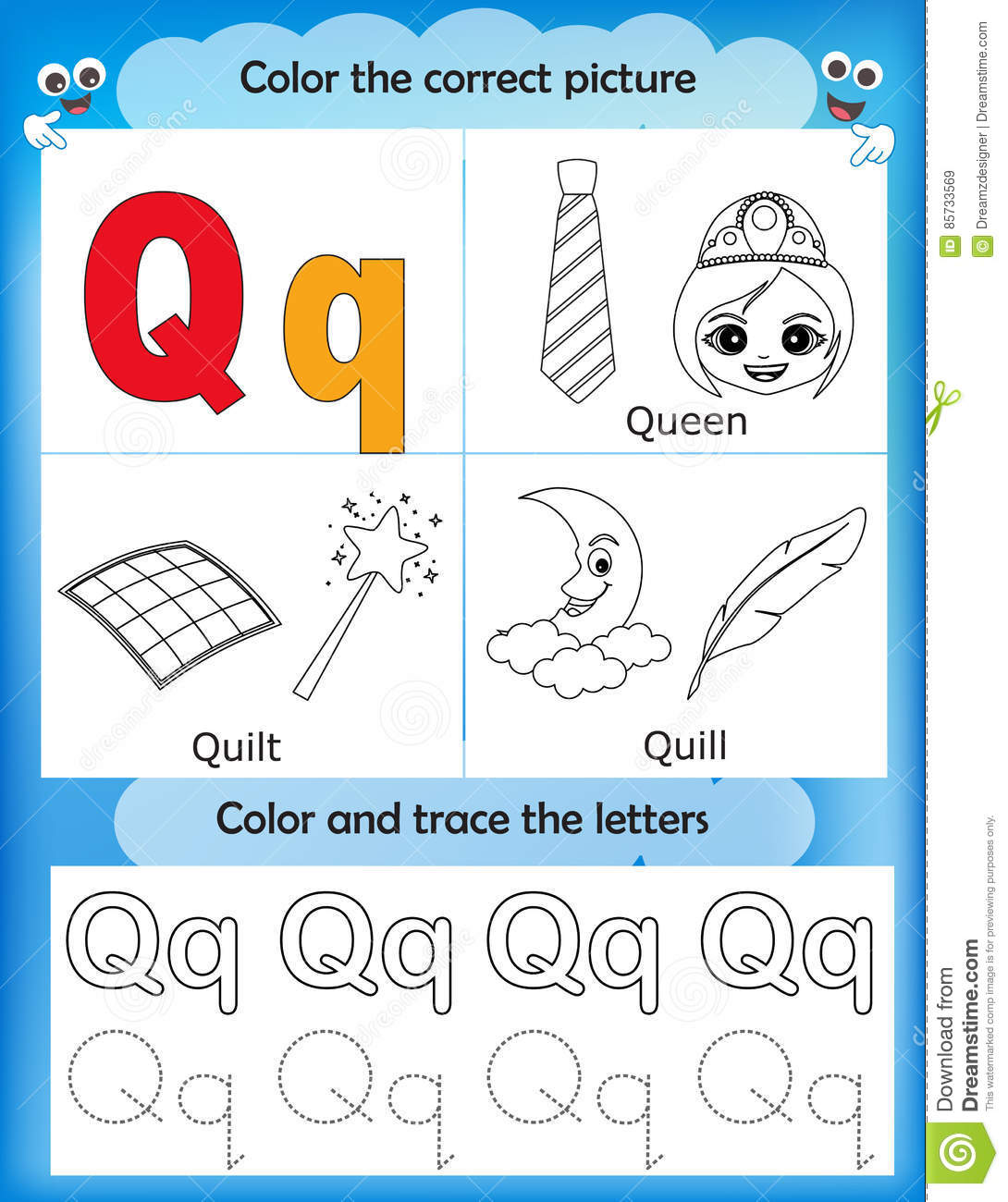 Alphabet Learning And Color Letter Q Stock Illustration