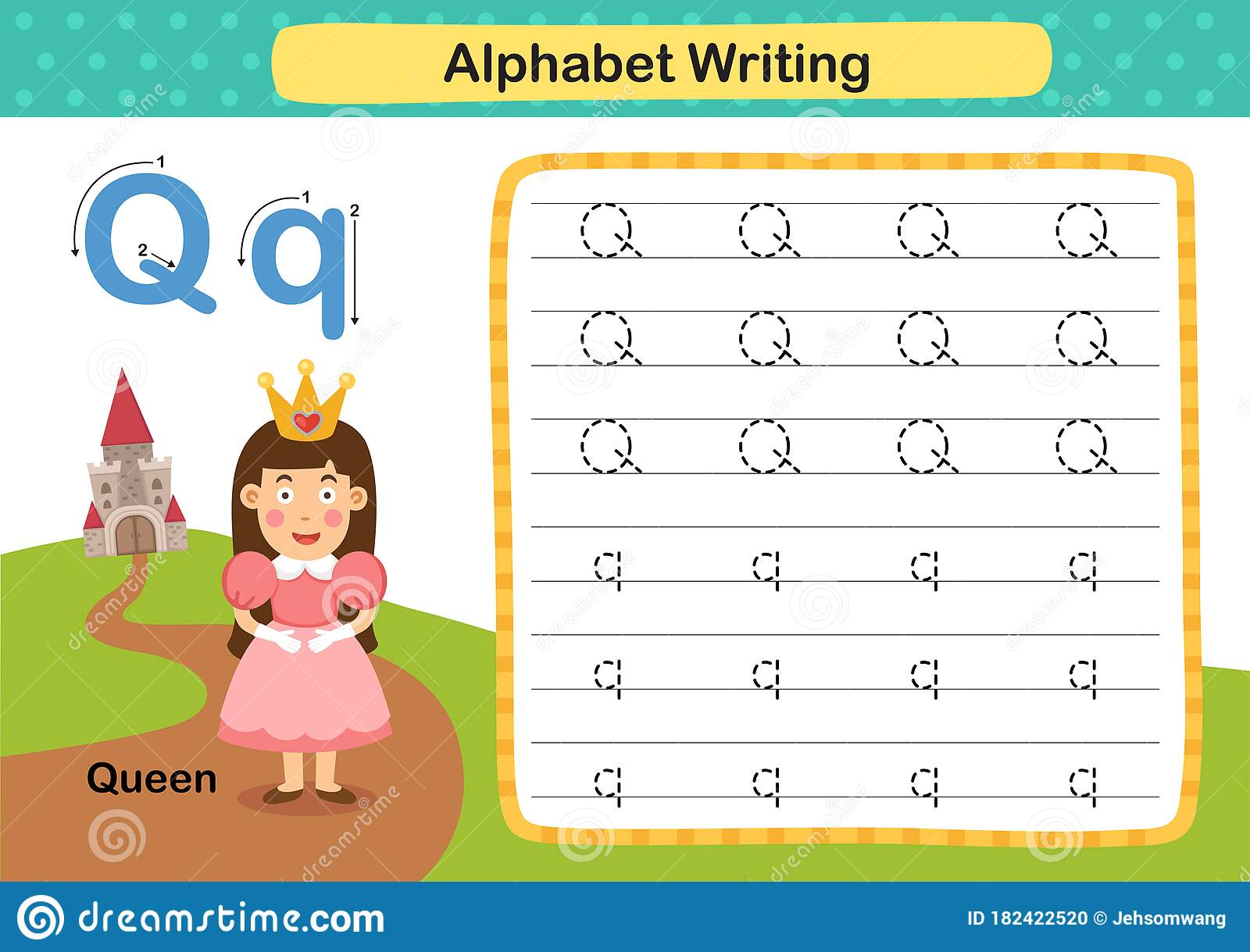 Alphabet Letter Q Queen Exercise With Cartoon Vocabulary