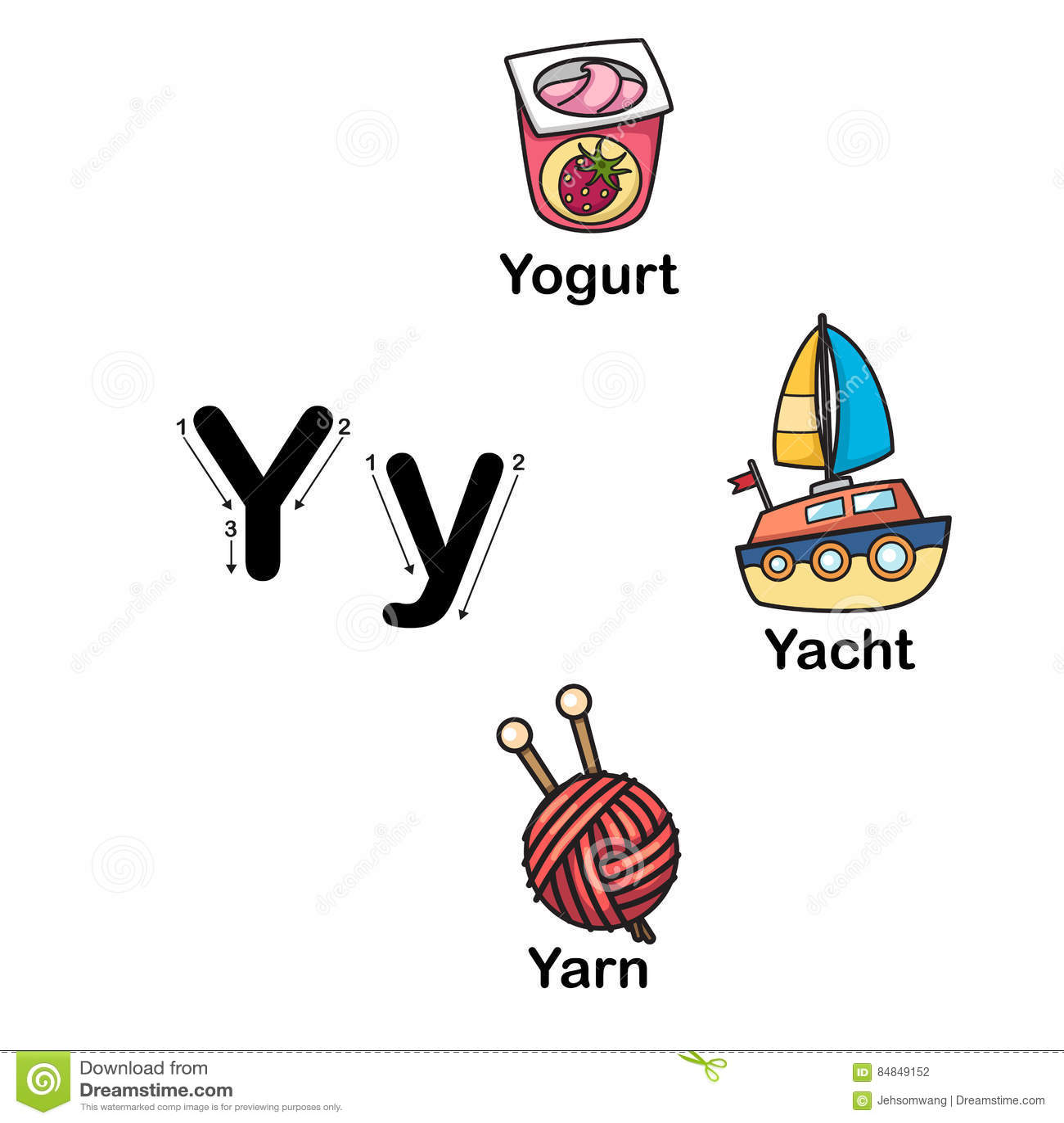 Alphabet Letter Y Yogurt Yacht Yarn Illustration Stock Vector