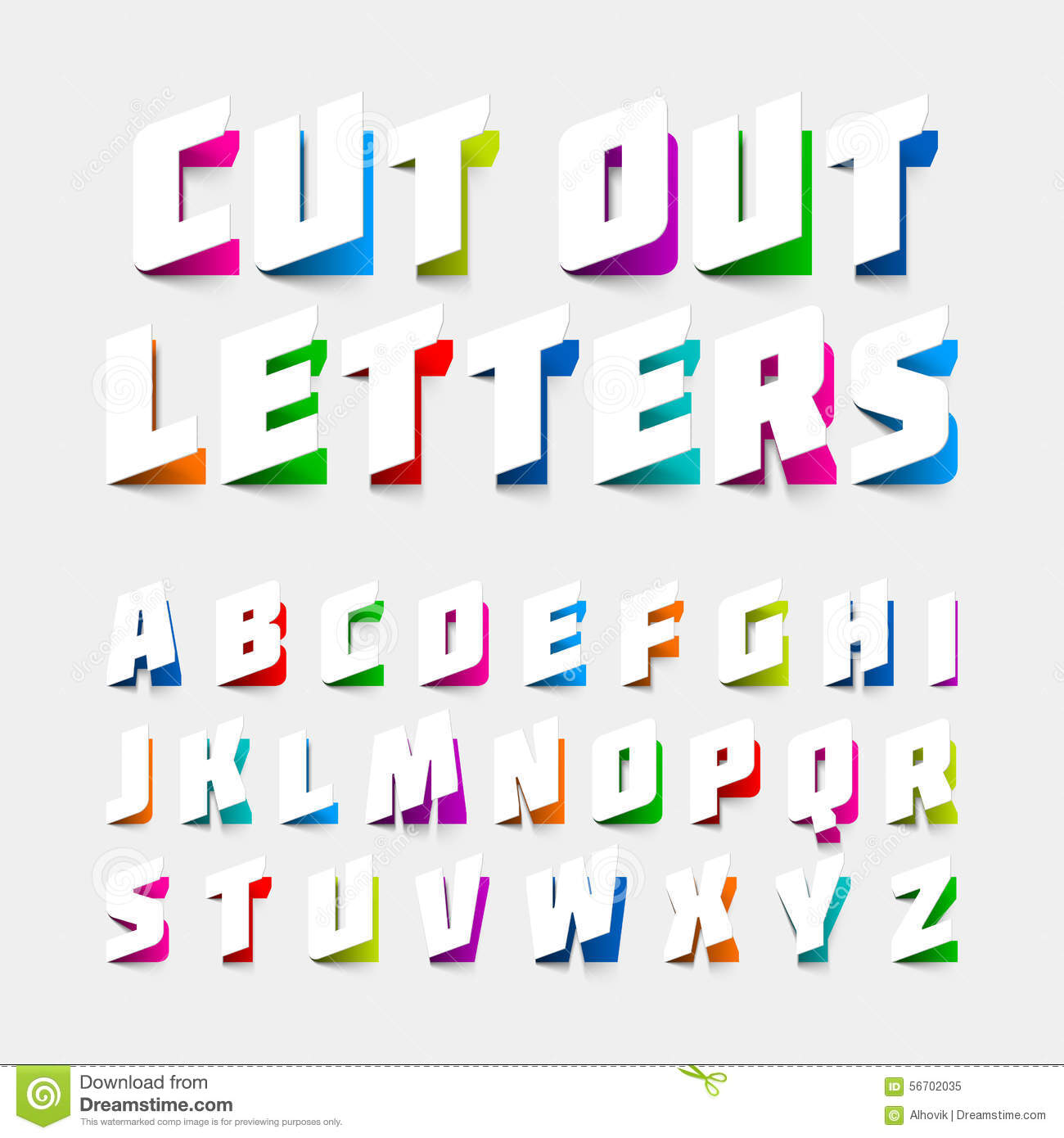 Alphabet Letters Cut Out From Paper Stock Vector