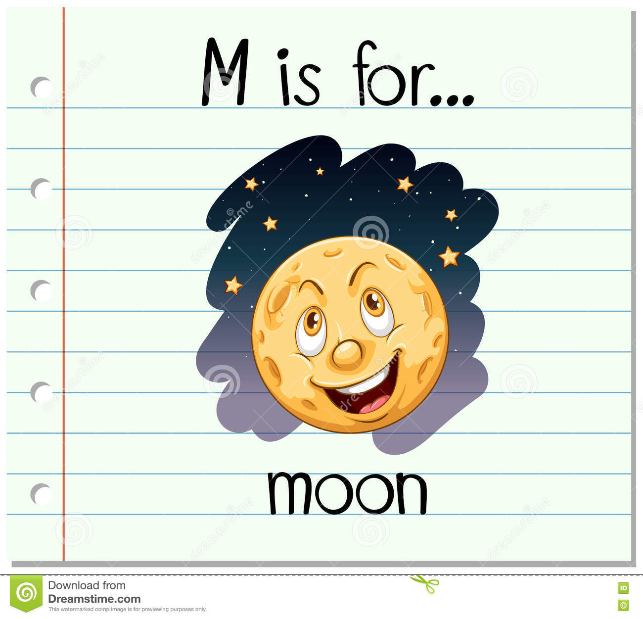 Alphabet M Is For Moon Stock Vector Illustration Of