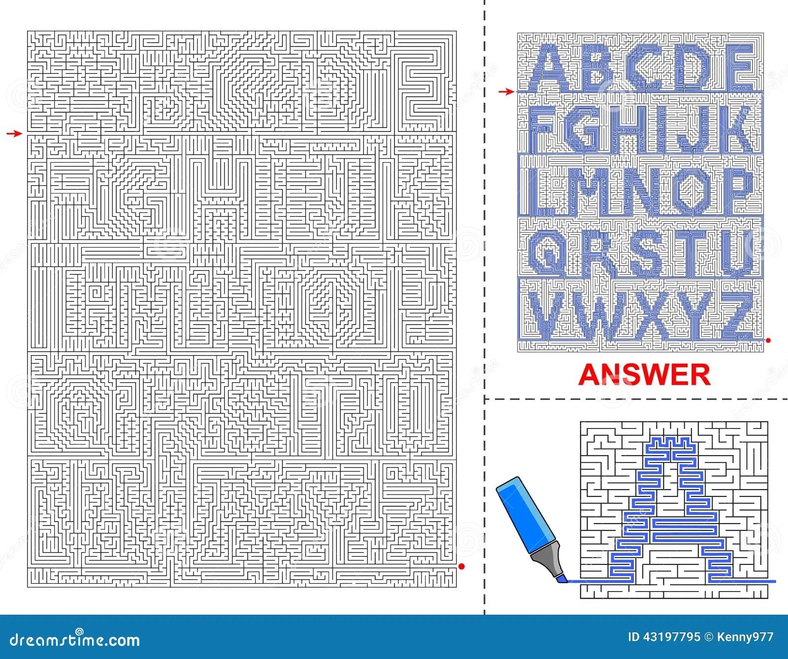 Alphabet Maze For Kids Stock Vector