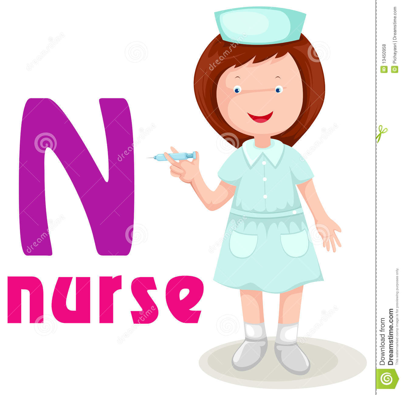Alphabet N With Nurse Stock Vector Illustration Of Drawing