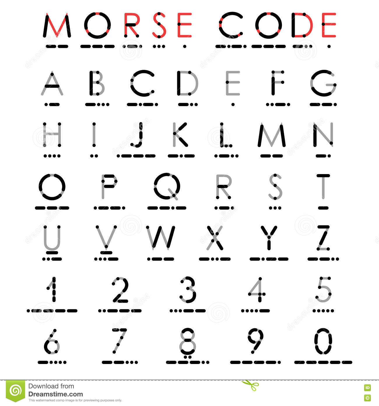 Alphabet And Numerals In Morse Code Stock Vector