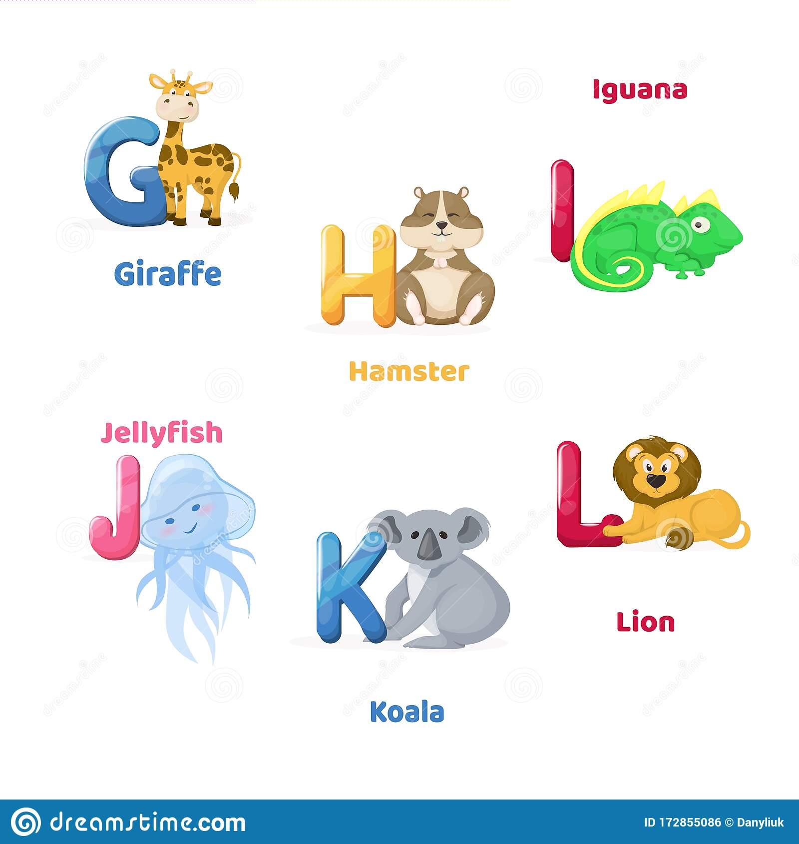 Alphabet Printable Flashcard With Letter G H I J K L Zoo