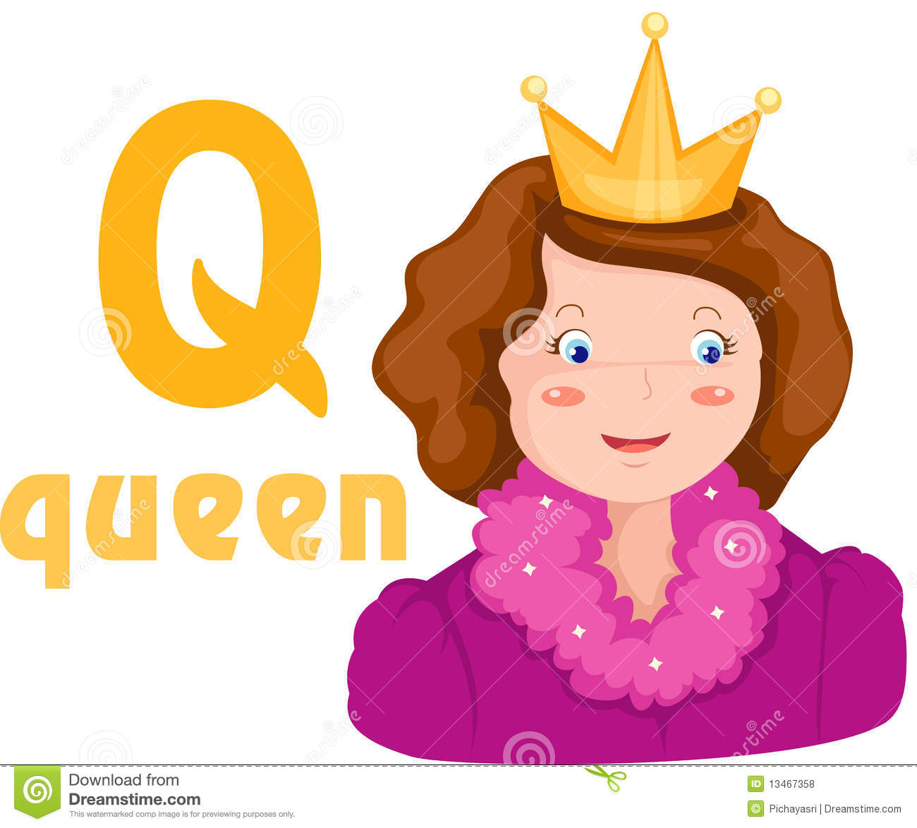 Alphabet Q With Queen Stock Vector Illustration Of Learn