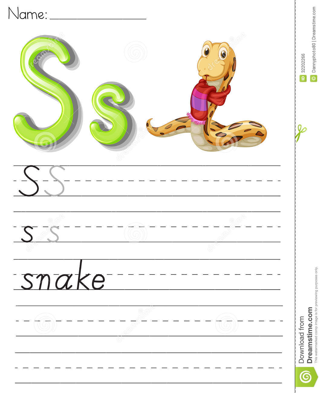 Illustrated Alphabet Letter S And Snake Royalty Free Stock