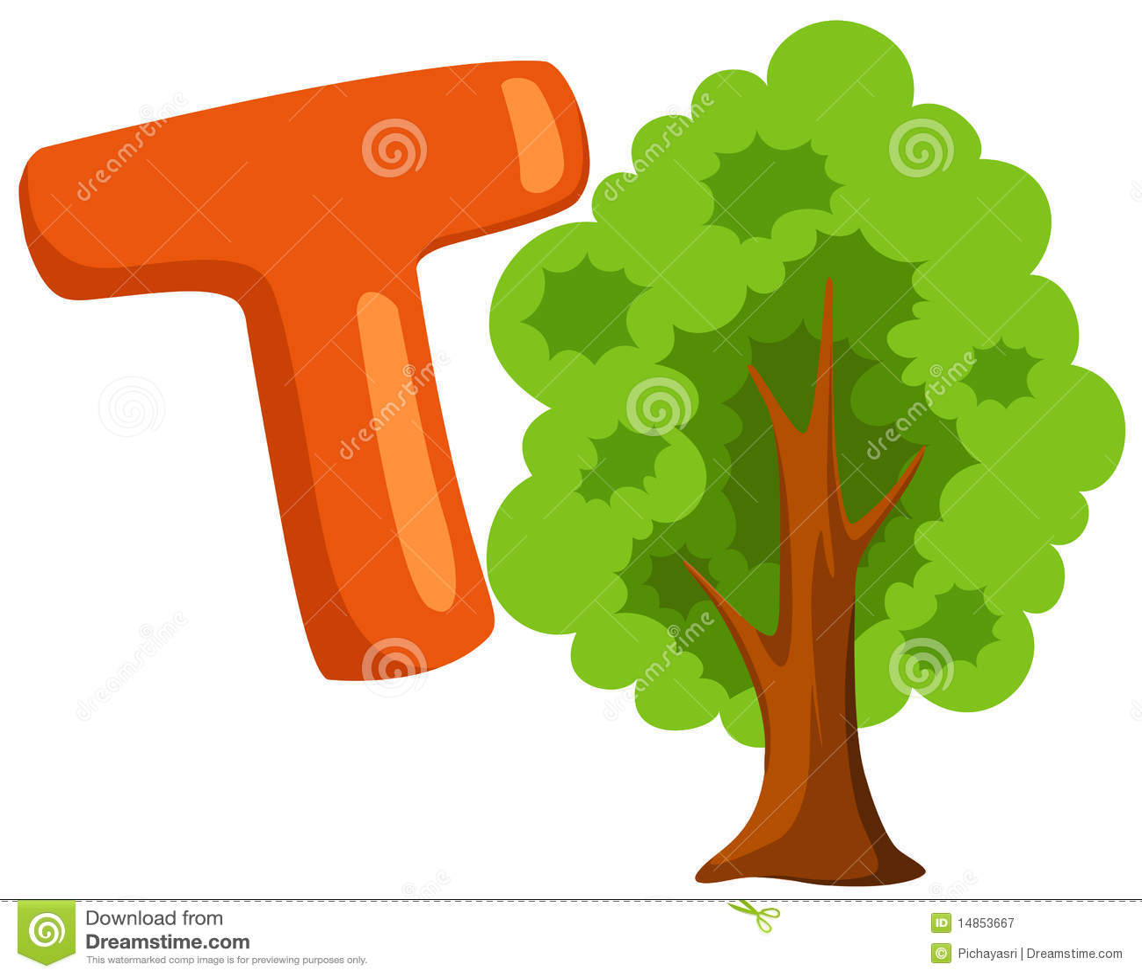 Alphabet T For Tree Stock Vector Illustration Of Learn