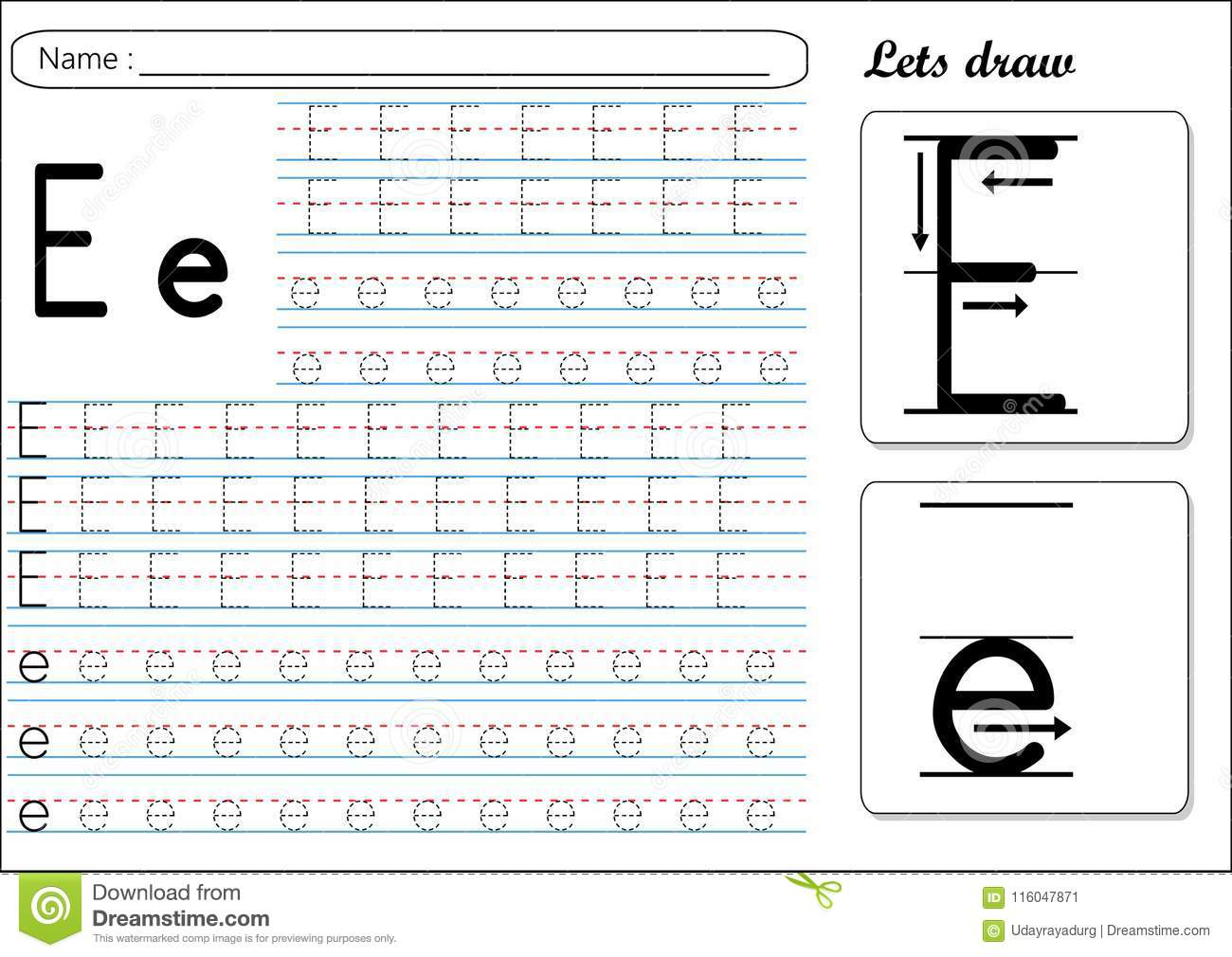 Trace Letter E Worksheet