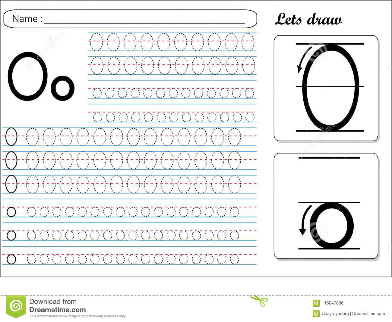 Tracing Worksheet Oo Stock Vector Illustration Of