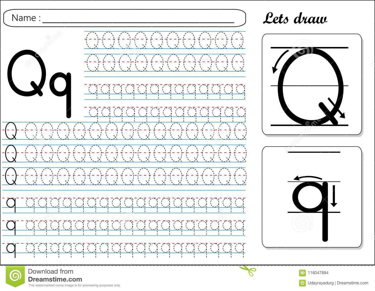 Tracing Worksheet Qq Stock Vector Illustration Of