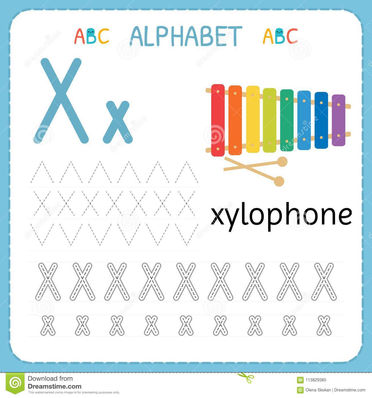 Alphabet Tracing Worksheet For Preschool And Kindergarten Writing Practice Letter X Exercises