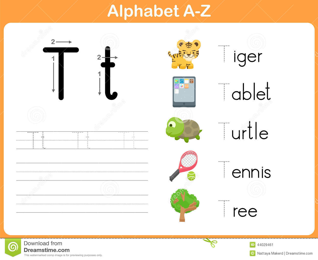 Alphabet Tracing Worksheet Stock Vector Illustration Of