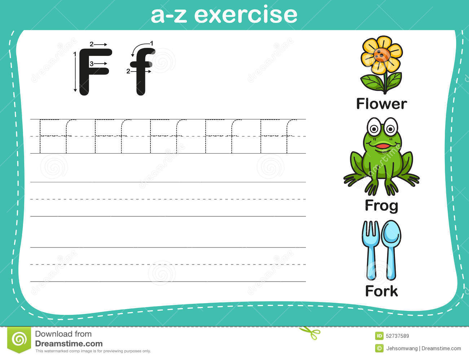 Alphabet A Z Exercise Stock Vector
