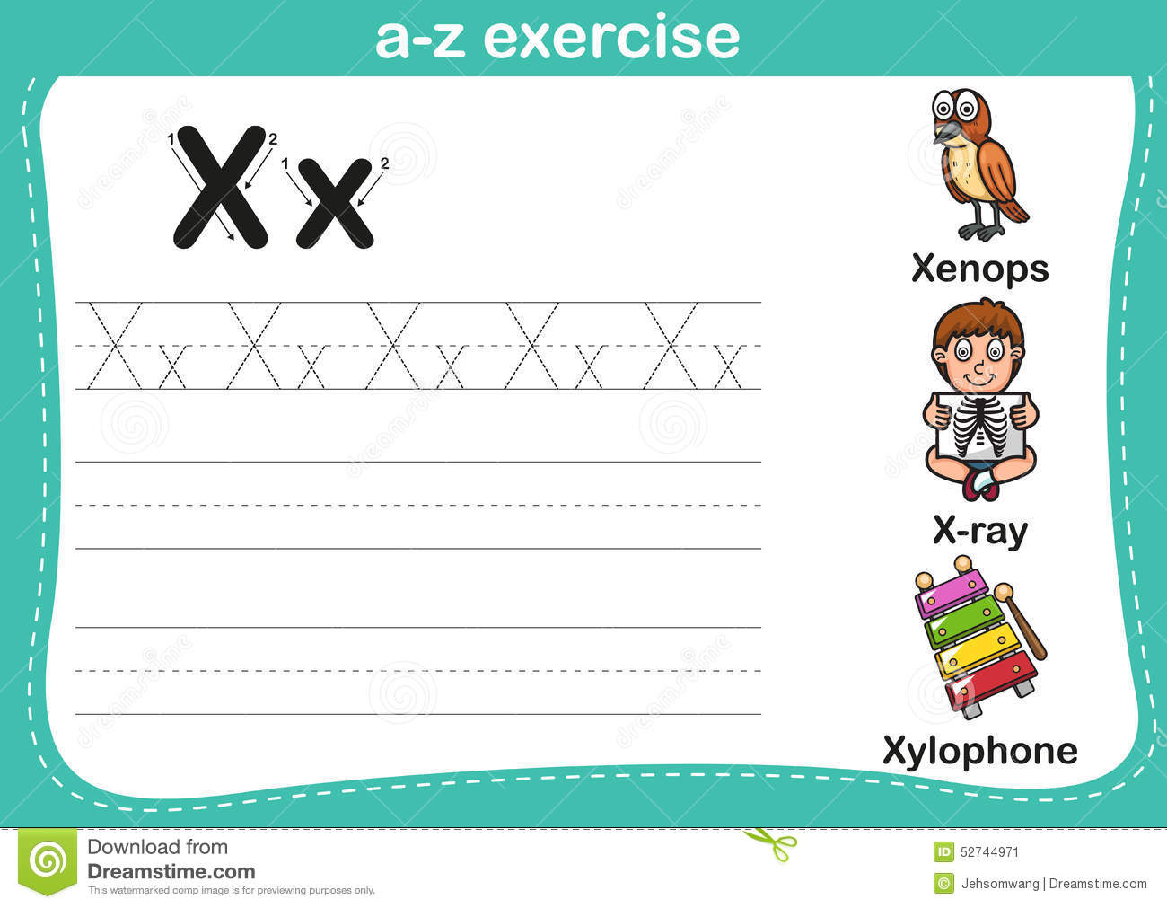 Alphabet A Z Exercise Stock Vector