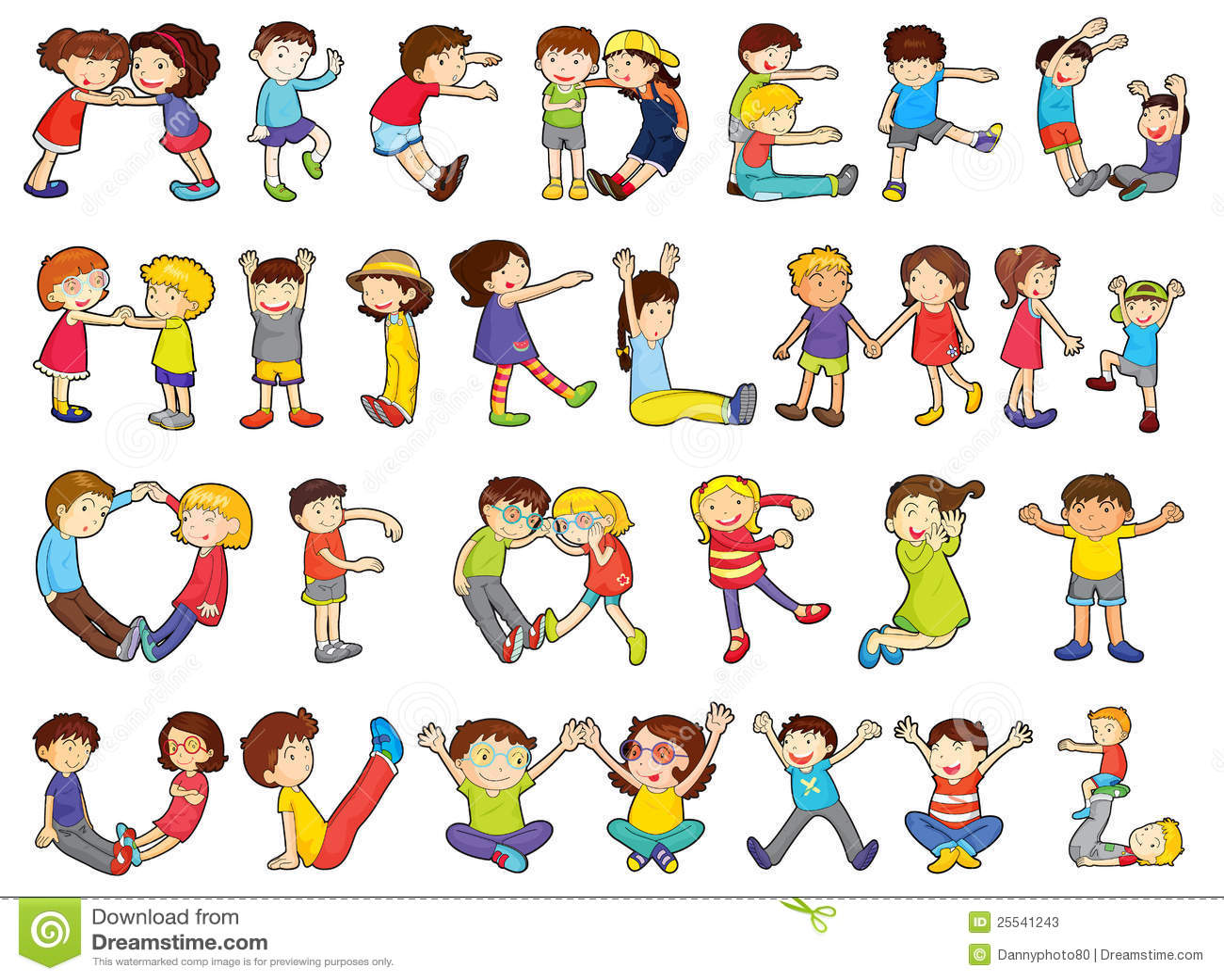 Alphabets In Kids Activities Stock Illustration