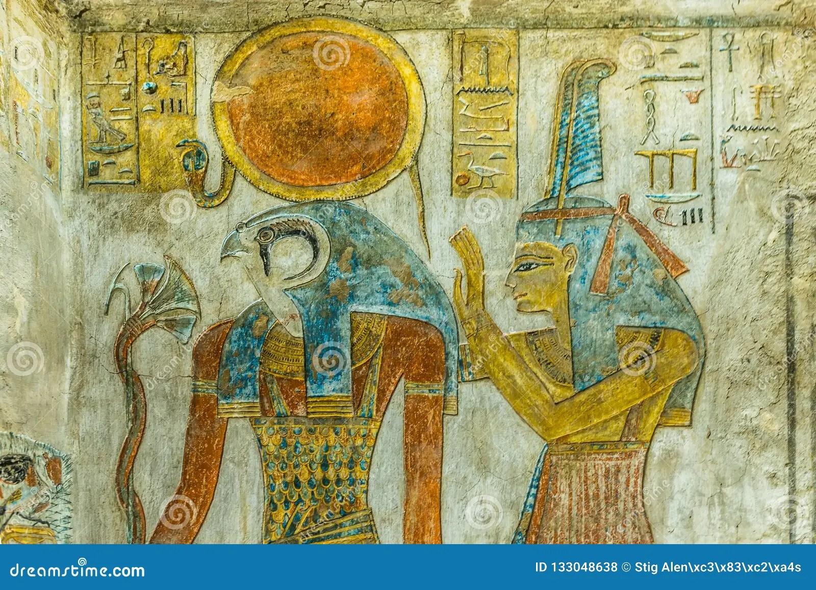 Agyptische Malereien Auf Wand Im Tal Von Konigen Stockbild Bild