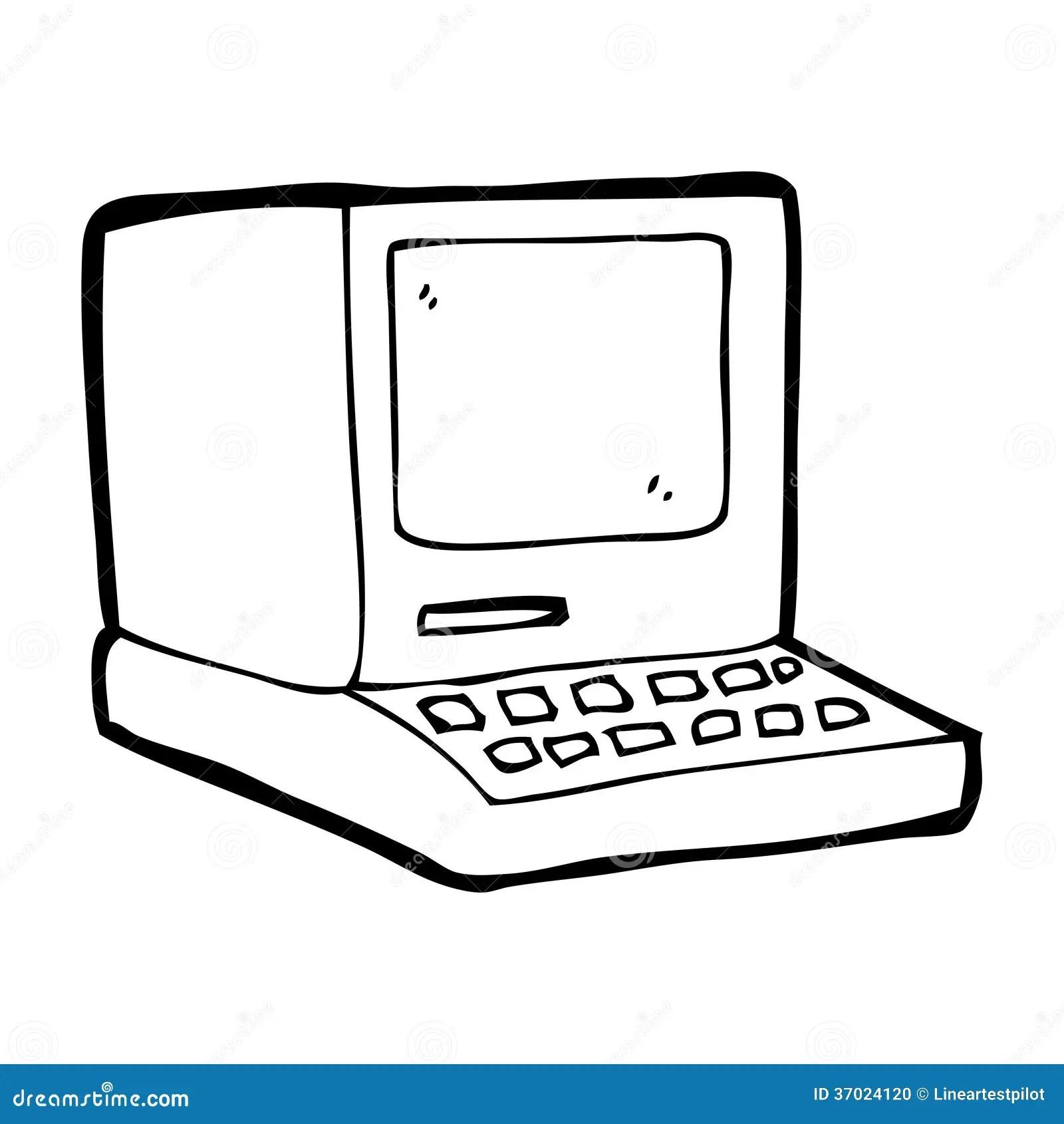 Alter Computer Der Karikatur Stock Abbildung