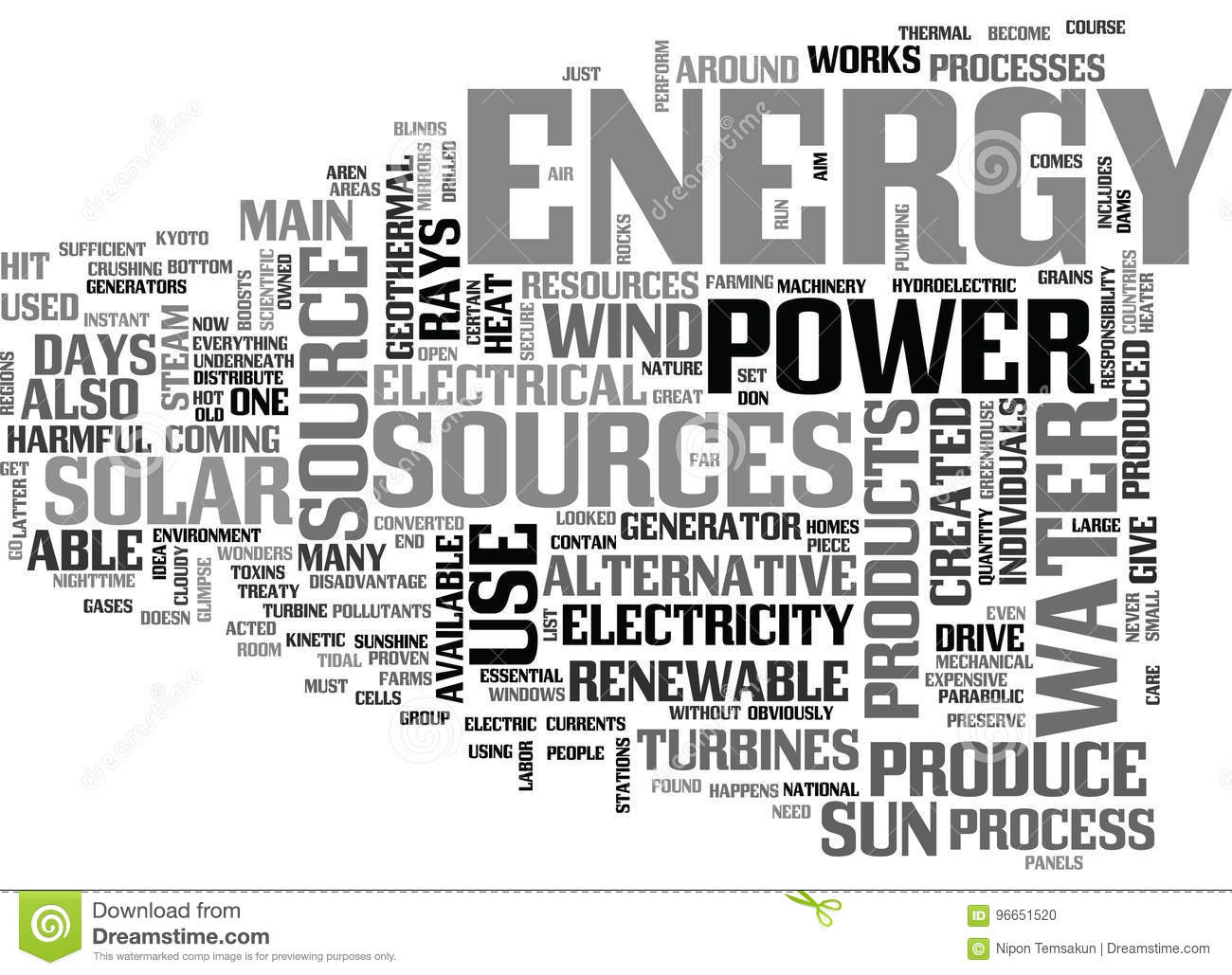 Alternative Energy Source Pros And Cons Word Cloud Stock
