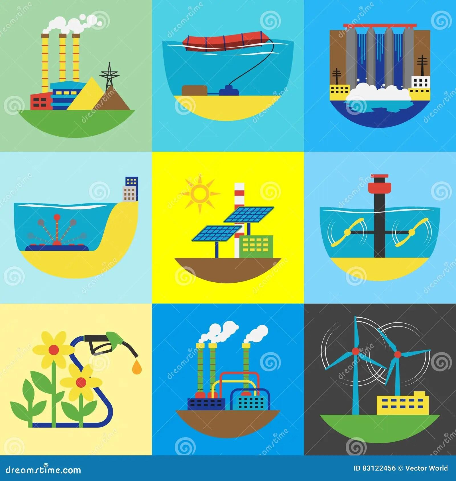 Alternative Energy Source Set Vector Illustration Stock