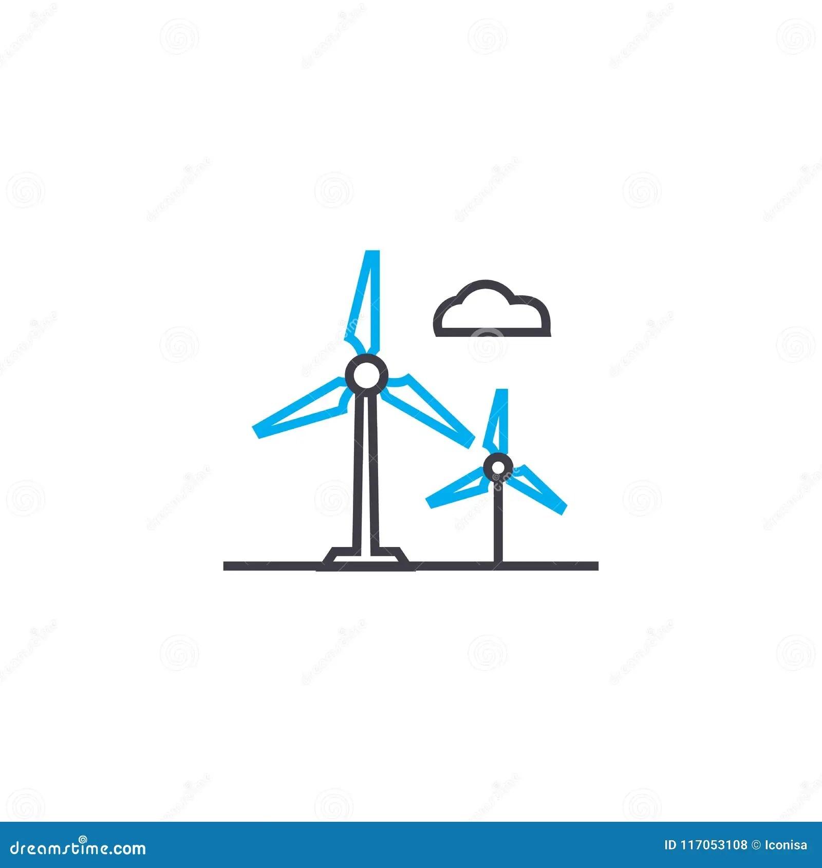 Alternative Energy Sources Linear Icon Concept
