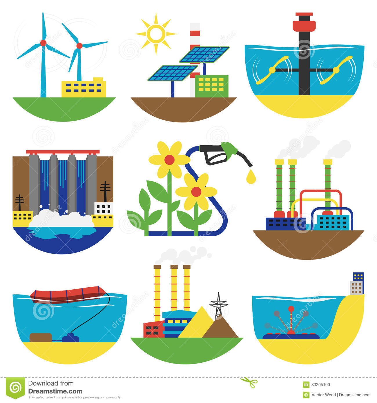 Alternative Energy Sources Vector Illustration Stock