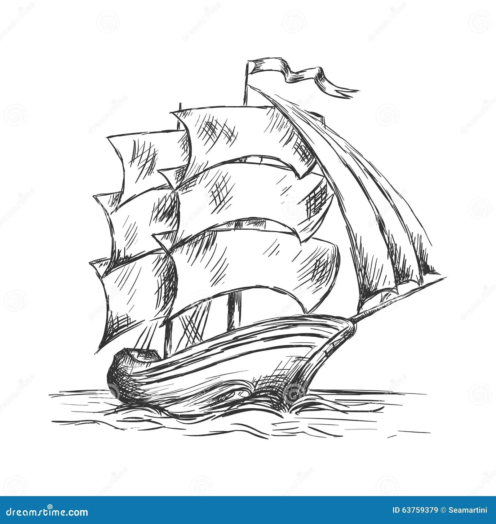 Altes Schiff Unter Vollen Segeln Im Ozeanwasser Vektor